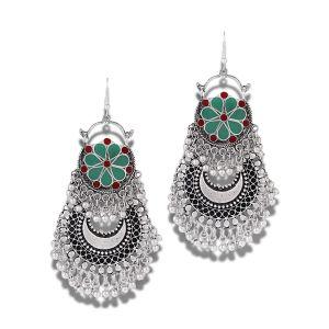 Mali Fionna Floral German Silver Oxidised Afgani earrings