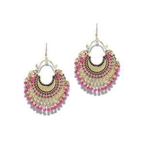 Valentine -Mali Fionna Beautiful Pair Of Afghan Pink Beads Chandbali Oxidised Earrings Made For Her