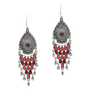 Mali Fionna Long German Silver Colourful Meena Work Long Dangler ghungroo Studed Earring