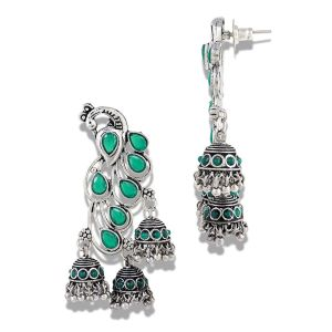 Mali Fionna Silver Tone Peacock Style Green Stone Studed Hanging Jhumki For Women/Girls