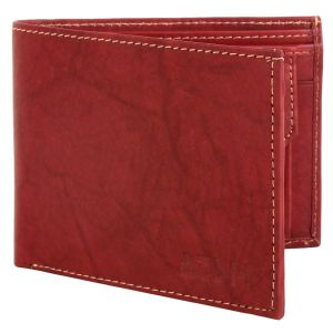 Men's Genuine Leather Wallet TAN AI-12 (RED)