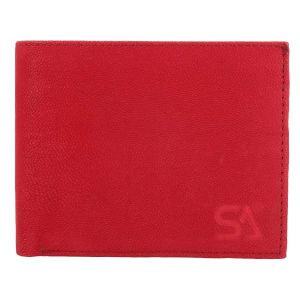 Men's Genuine Leather Wallet TAN AI-18 (RED)