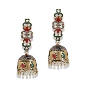 Mali Fionna Golden Oxidised Alloy Enamel Work Earrings-Mali Fionna