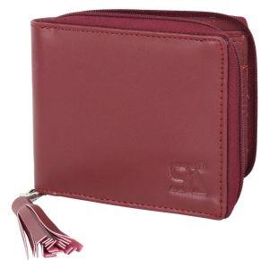 Maroon Women's PU Leather Wallet AI-74