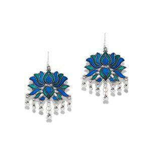 Mali Fionna German Silver Blue torquise Meenakari Enamel Work Lotus Shape earrings