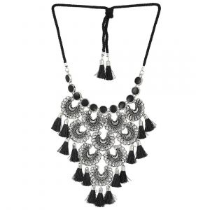 Mali Fionna Fancy Designer Oxidised Silver-Toned & Black Tasselled Necklace/Mala For Girl's/Women's