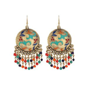 Malifionna Present Multi Colored Chandbali Earring With Multi Colored Beads Jhumki jhumka Earring For Women's & girl
