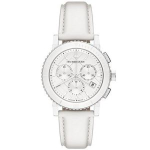 Burberry BU9701 Women's City White Leather Strap White Dial Chronograph Watch
