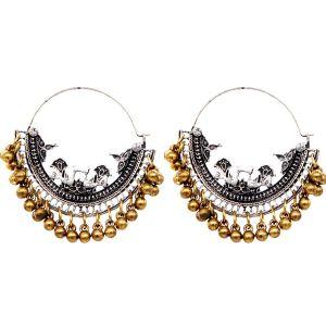 Mali Fionna German Silver Golden Bell Stud Oxidised Textured Chandbali Jhumki For Women's & Girls