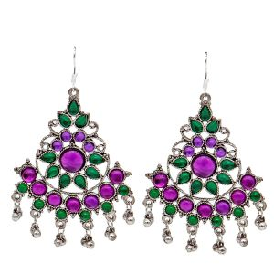 Valentine -Mali Fionna Silver Purple Green Pearl Studed Hook Dangler Earrings Made For Her