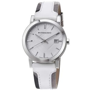 White Sunray Dial Trench Check White Leather Strap Unisex Watch