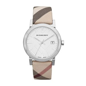 Burberry BU9022 White / Print Leather Analog Quartz Women's Watch