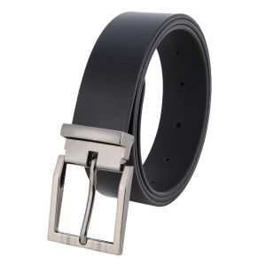 Pontos Men's Plain Black Non Reversible Leather Belt B07JDF6SMG
