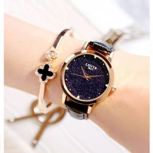 Black Leather Strappy Glittered Analogue Watches