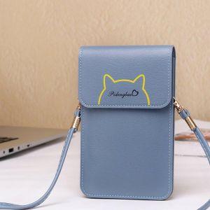 Casual Cat Outline Vertical Shoulder Bags