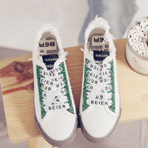 Cool Green Sparkling White Sneakers For Women