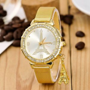 Crystal Border Gold Eiffel Tower Analogue Watch