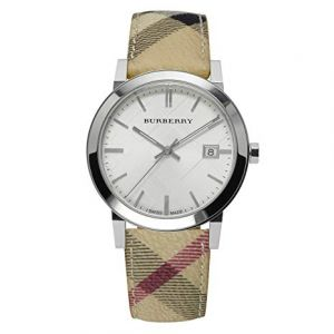 Burberry Embossed Silver Dial Leather Textile Quartz Ladies Watch BU9025