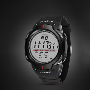 Digital Grey Dial Black Sports Mens Watches