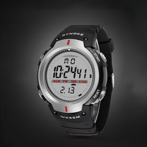 Digital Grey Dial Black Sports Mens Watch