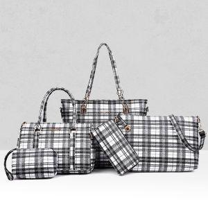 Five Pieces Checks Texture Handbags Set - Black And White