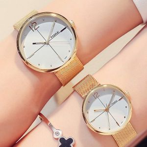 Golden Stainless Mesh Couple Analogue Watches