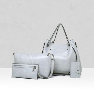 Fine Quality Leather Grey Quality PU Leather Bag Set