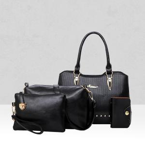 Four Pieces Quality Textured Black Handbags Set