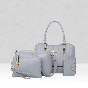 Four Pieces Quality Textured Grey Handbags Set