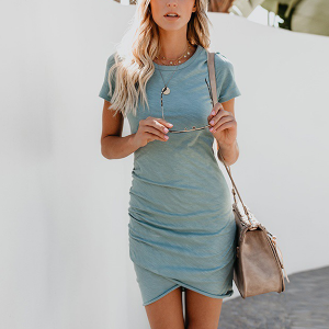 Irregular Short Sleeves Wrapped Mini Dress