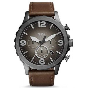 Fossil JR1424 Nate Chronograph Grey Dial Brown Leather Men's Watch