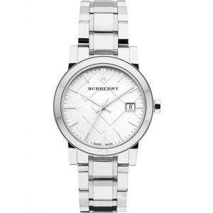 Burberry Women's 'Large Check' Swiss Quartz Stainless Steel Casual Watch, Color:Silver-Toned (Model: BU9100)