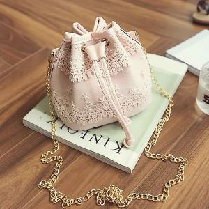 Lace Patched Drawstring Quality Shoulder Bags