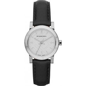 Burberry BU9206 Women's Black Leather Strap White Dial Watch