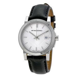 Burberry Women's BU9106 Large Check Black Leather Strap Watch
