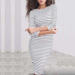 White Quarter Sleeves Round Neck Mini Dress