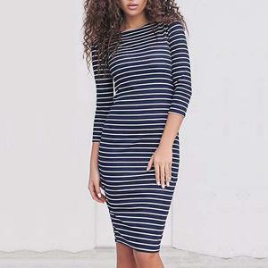 Quarter Sleeves Round Neck Mini Dress Dark Blue
