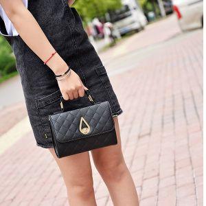 Quilted Premium Black Crossbody Bag