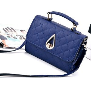 Quilted Premium Blue Crossbody Bag