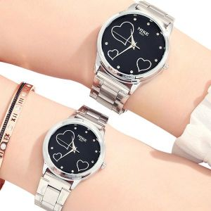 Black Dial Stainless Couple Wrist Watch