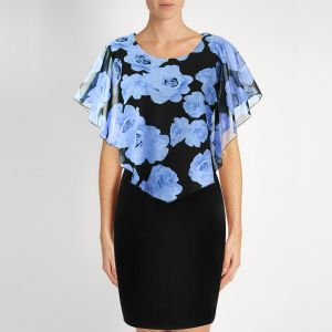 Sky Blue Rose Printed Slim Black Mini Dress