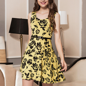 Rose Prints A-Line Mini Party Dress