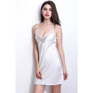 White Satin Babydoll For women