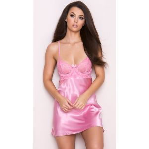 Pink Satin Babydoll For women