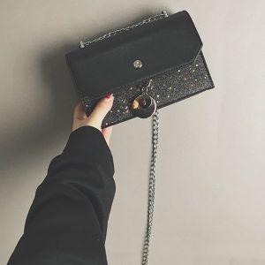 Shiny Glittered Chain Handle Black Messenger Bag
