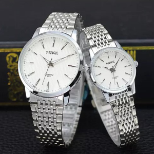 Stainless Steel Couple Analogue Wrist Watches