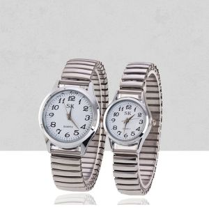 Stainless Steel Stretchable Bracelet Couple Watch