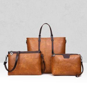 Three Pieces Brown PU Handbags Set