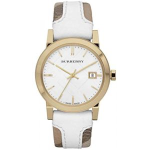 Burberry Women's BU9110 Large Check Leather Strip On Fabric Watch