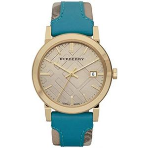 Burberry Turquoise Leather Strap Unisex Watch - BU9018